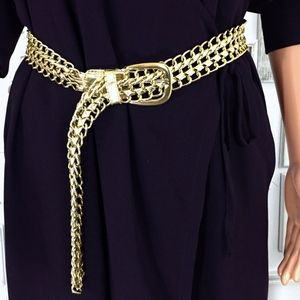 Vintage Gold Chain & Faux Leather Braid Belt